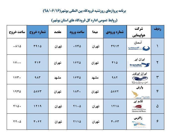 جدول پرواز های فرودگاه بوشهر در 16 شهریور 98