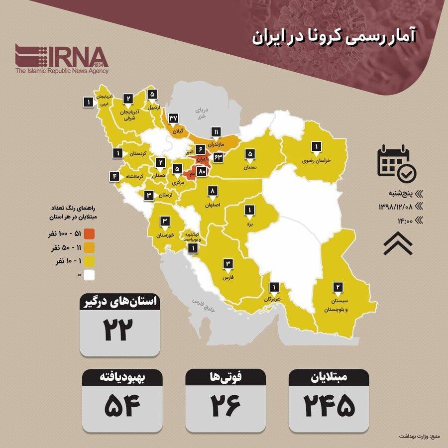 آخرین آمار بیماری کرونا در اصفهان ، 8 نفر مبتلا و یک فوتی