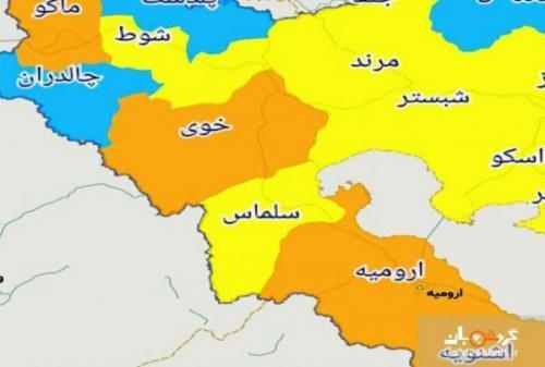 شهرهای ممنوعه برای سفر در استان آذربایجان غربی ، نقشه